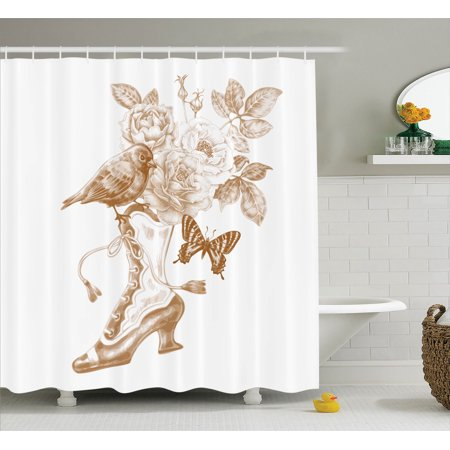 Victorian Decor Shower Curtain Set, Nostalgic Boots With Roses ...