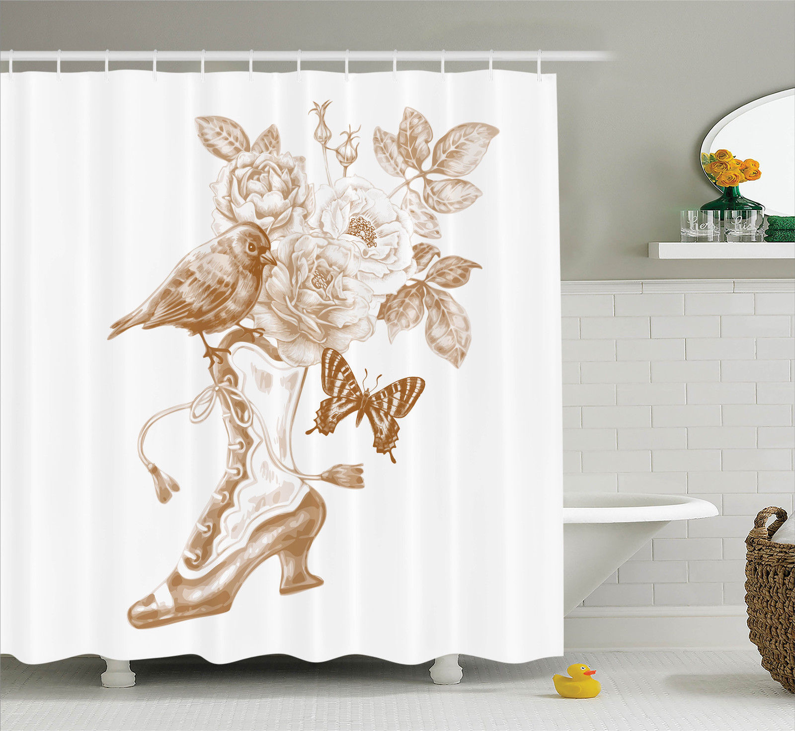 Ordinaire Victorian Decor Shower Curtain Set, Nostalgic Boots With Roses Butterfly  And Bird British Trend Upper