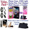 """Value Pack + for 5.7  LG Stylo 3 K10 PRO Stylo3 PLUS Case Phone Case Painted Wallet Fold Stand Hybrid Pouch Purse Screen Flip Cover Big Heart Pink """"~ Value Pack ~ Phone Case with USB Light, Car Charger, Wall Charger, Stylus Pen, 2 Cables~ for 5.7"""""""" LG Stylo 3 K10 PRO Stylo3 PLUS ( LS777 MP450 M430 L84VL L83BL )~ Not for [ Stylo 2, K10, K10 2017 ]~ Made of flexible PU leatherette for great durability~ Folding kickstand for viewing convenience~ Built in card pockets / slots~ Raised camera opening to protect the lens~ Quick open-close flap~ Flap protects the screen when phone placed in the purse~ Spongy leatherette and phone frame guard against bumps and shocksProduct DescriptionThis wallet phone case comes with a folding kickstand for viewing convenience. Made with built-in card pockets / slots, go to the movies without a big bag. Constructed with leatherret outer cover and PU phone frame. The spongy effect of the materials guard against bumps and shocks. Flap closure covers the phone screen for great protection. The high quality and detailed construction make this a best / special fit for your need.Fast turn-around shipping. Work to beat system estimated arrival day."""""""