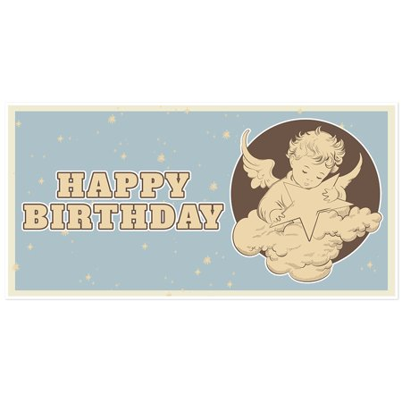 Blue Baby Angel Birthday Banner