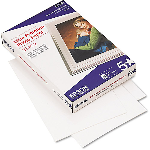"Epson Ultra-Premium Glossy Photo Paper, 79 lbs, 4"" x 6"", 60 Sheets/Pack"