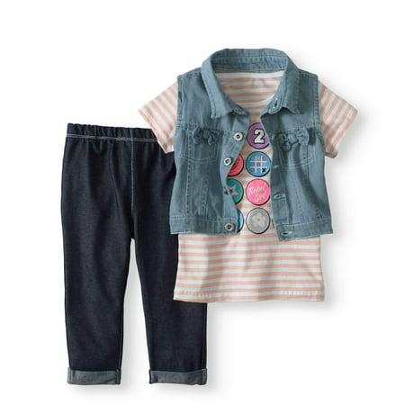 Toddler Girl Vest, T-shirt & Knit Denim Jeans, 3pc Outfit - Ms Clause Outfit