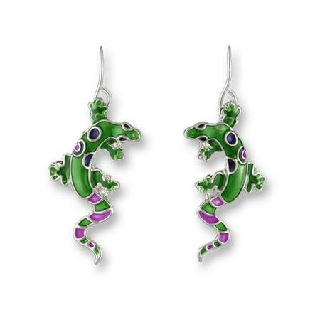 Plated Gecko - Zarah 01-03-Z1 Calypso Gecko Silver Plate Earrings