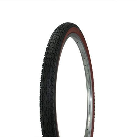 Wanda Diamond Tread Bicycle Tire White Wall 26 x 2.125, for Beach Cruiser Bikes, Black/Red