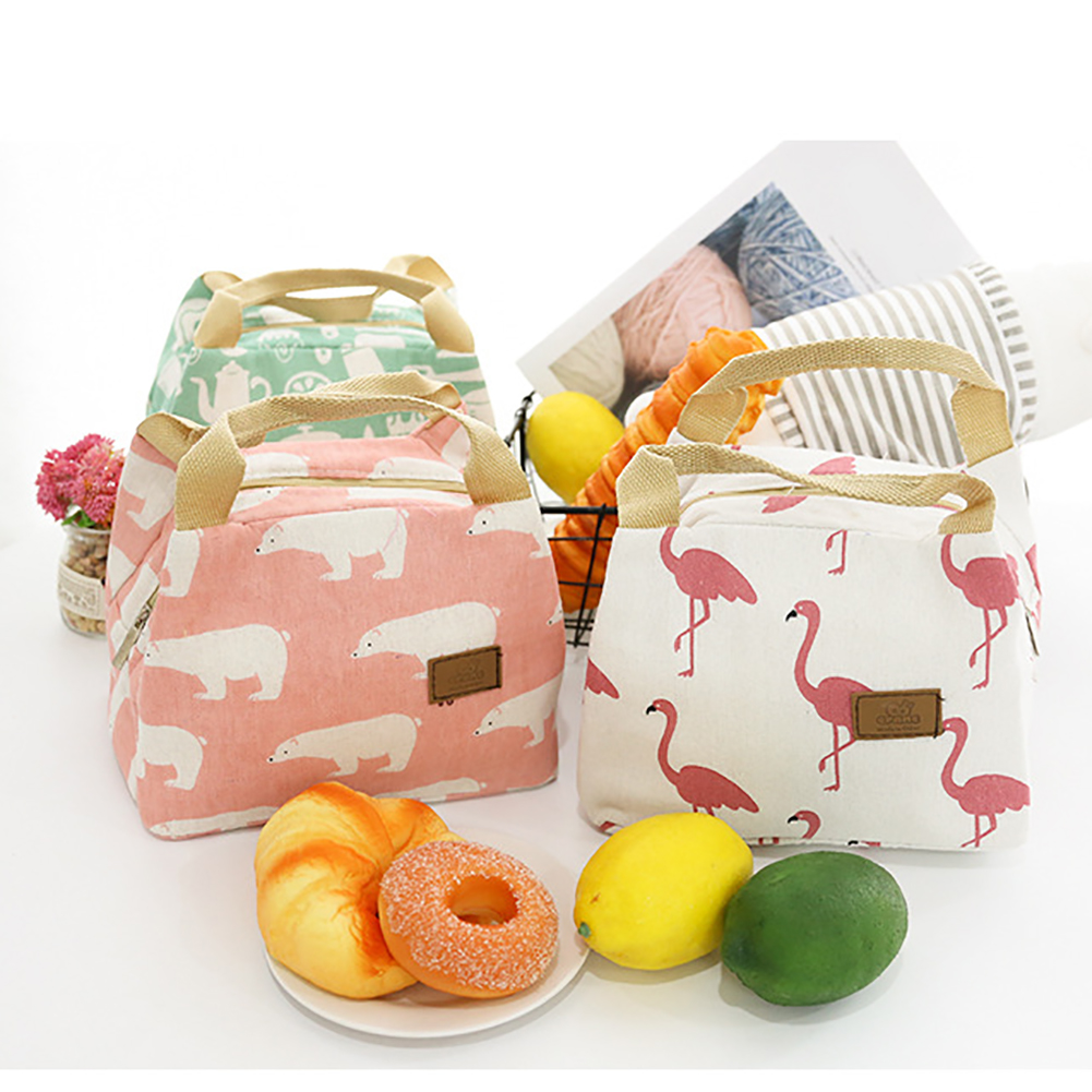 Moderna Flamingo Bear Insulated Thermal Lunch Carry Tote Storage Bag Picnic Case Pouch