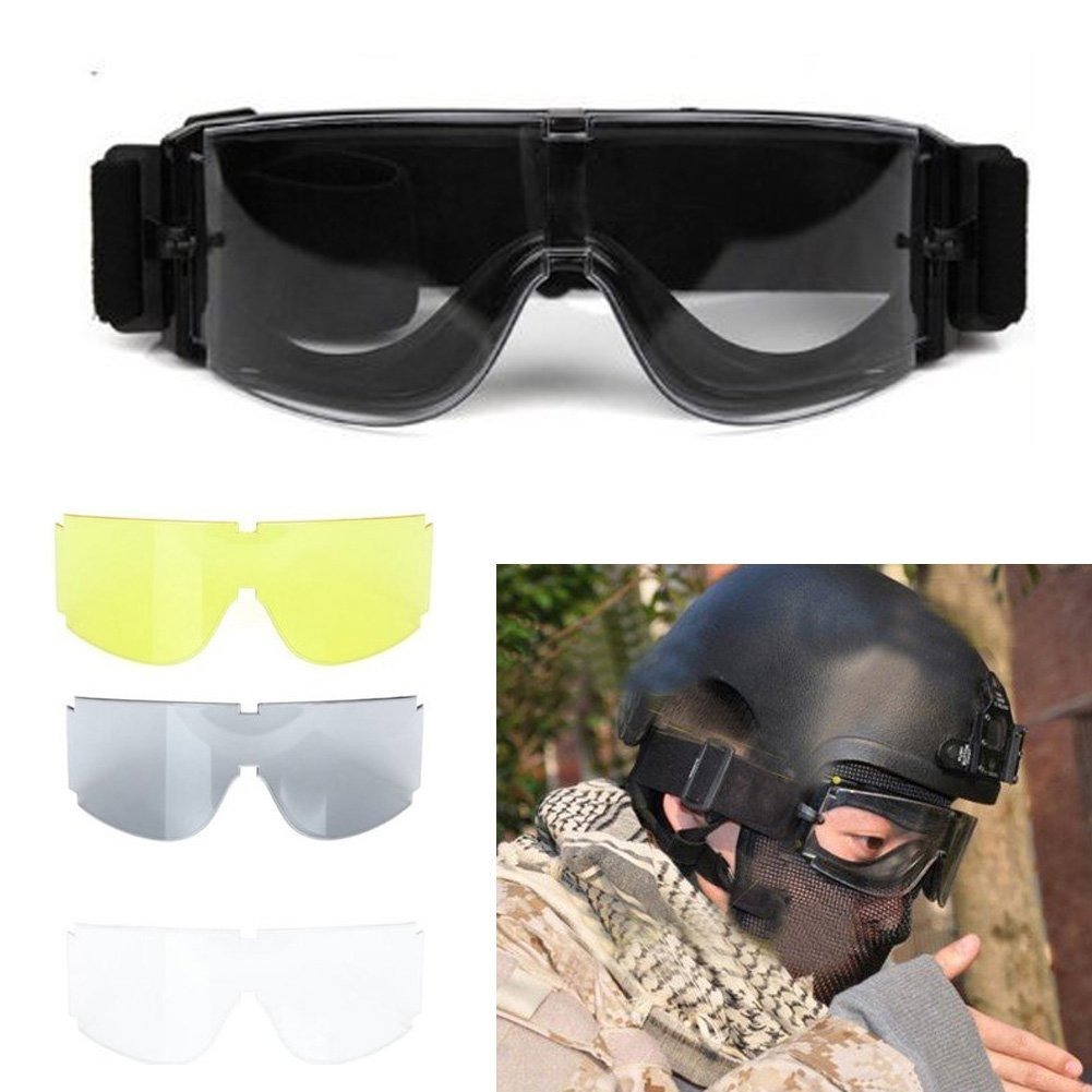 TMISHION Airsoft X800 Tactical Goggle Glasses Gx1000, Black Yellow Transparent by
