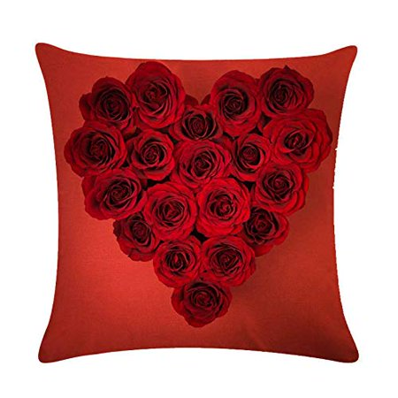 Red Home Decor - Tayyakoushi Rose Flower Pillow Cover 3D Decorative Rose Sweet Heart Valentine's Day Decorations Throw Pillow Home Decor Linen Pillowcase (Red 2)
