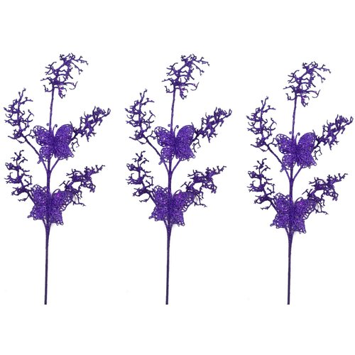 Admired by Nature Glitter Coral and Butterfly Christmas Stem (Set of 3)