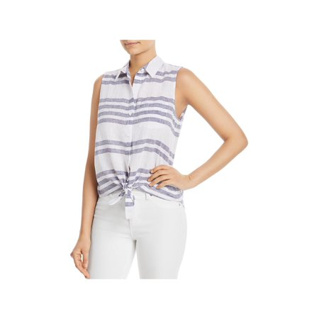 Beach Lunch Lounge Womens Janera Striped Tie-Front Tank Top