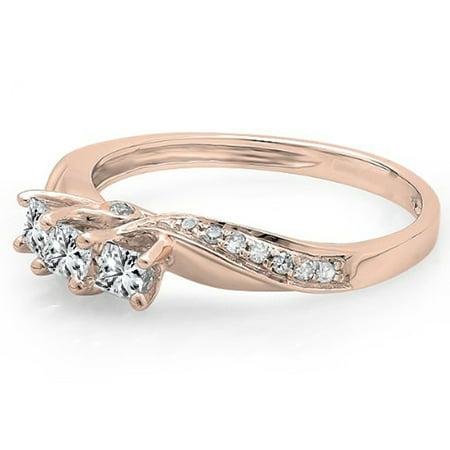 Dazzlingrock Collection 0.50 Carat (ctw) 10K Princess & Round Diamond 3 Stone Engagement Ring 1/2 CT, Rose Gold, Size 8
