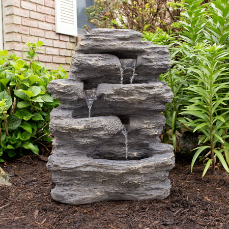 Outdoor Water Fountain With Cascading Waterfall, Natural Looking Stone and Soothing Sound for Decor on Lawn, Garden, and Patio By Pure Garden