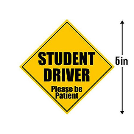 5x5 inch Caution STUDENT DRIVER Please Be Patient Sticker - safety safe car