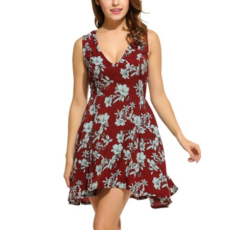 Nlife Women's Sexy V-neck Floral Print Fit and Flare Casual Dress