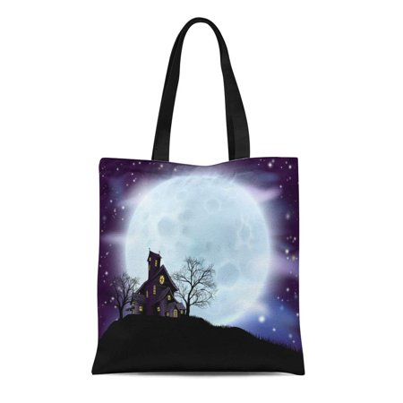 SIDONKU Canvas Bag Resuable Tote Grocery Shopping Bags Purple of Scary Halloween Haunted House in Silhouette with Spooky Trees Blue Tote Bag](Halloween Torte Kuchen)