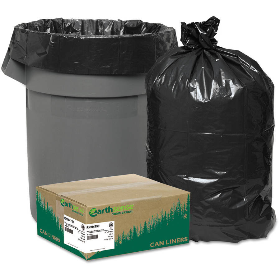 Earthsense Commercial Black Can Liners, 56 gal, 100 ct