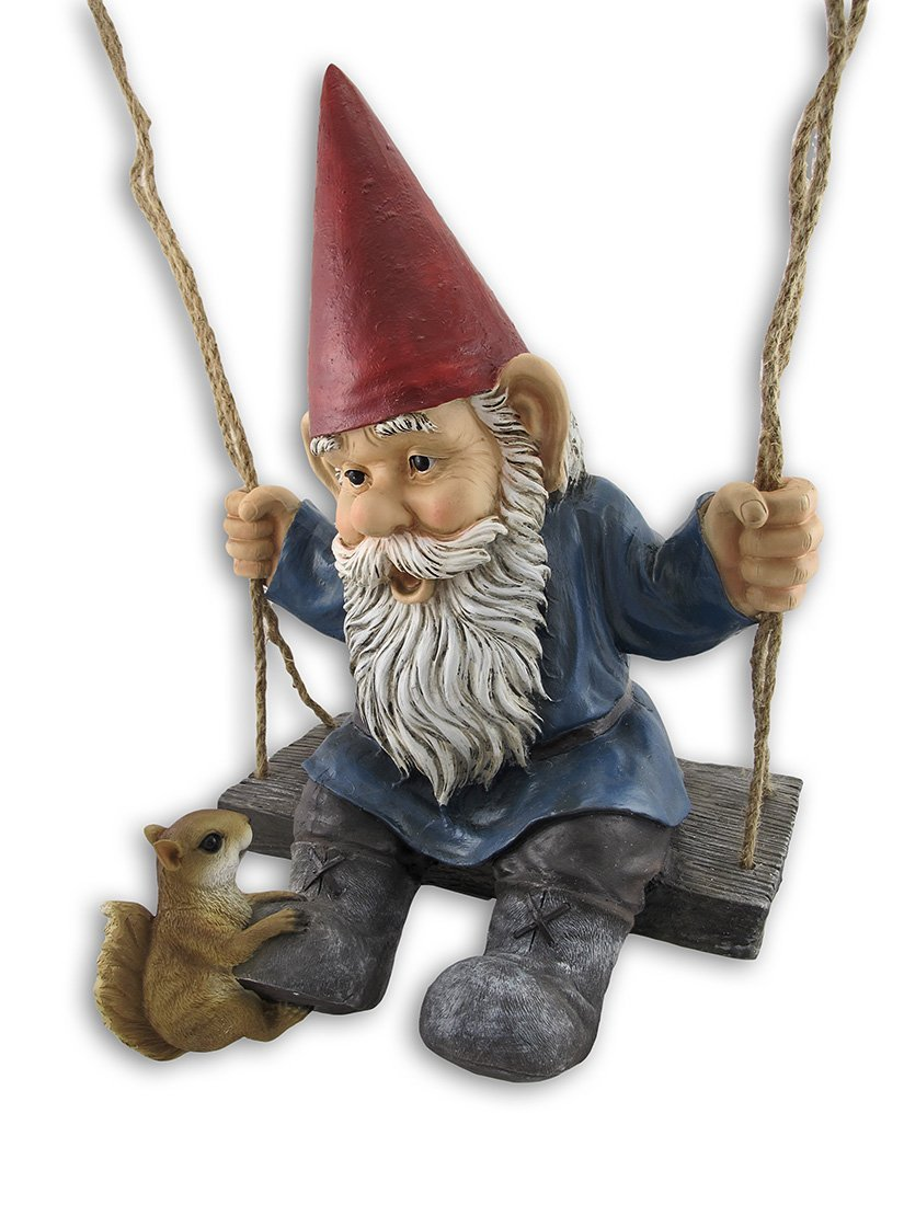 """""""Happy Pastimes"""" Swinging Garden Gnome Statue Swing, 20 1 2 in. X 14 in. X 12 1 2 in. By Private... by"""