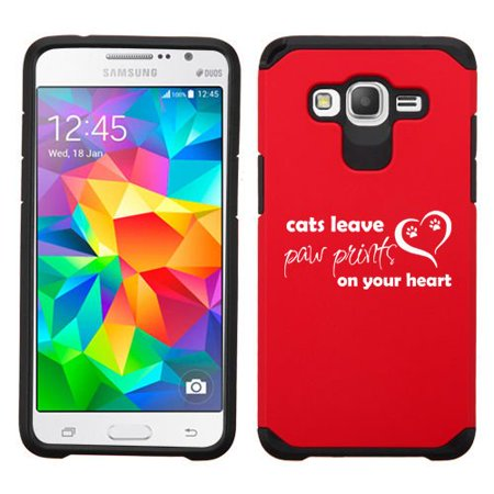 For Samsung Galaxy Core Prime Shockproof Impact Hard Soft Case Cover Cats Leave Paw Prints On Your Heart (Take Your Cat And Leave Your Sweater)