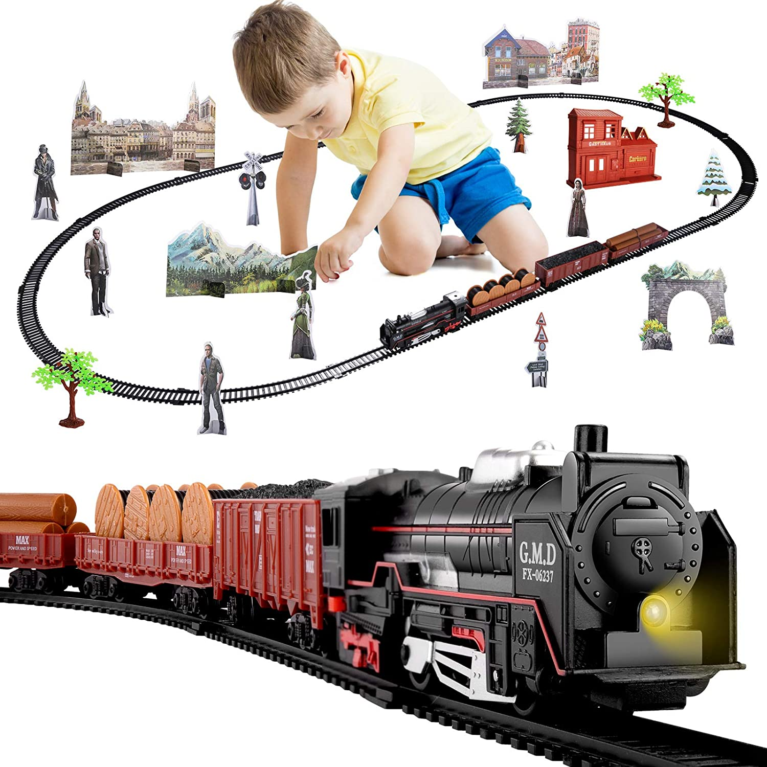 3 Cars and 18 Tracks Temi Electric Train Set for Kids Classic Toy ...