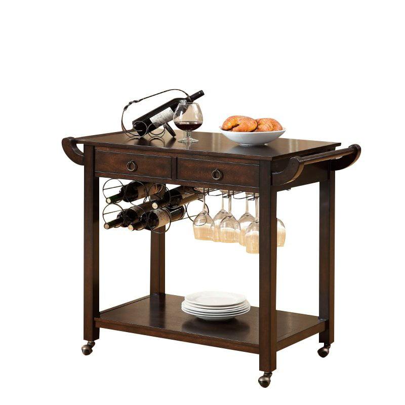 Furniture of America Reeve Transitional Bar Cart in Dark Walnut