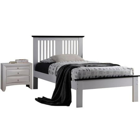 Brooklet 2 Piece Modern Bedroom Set with Queen Bed and Nightstand in White