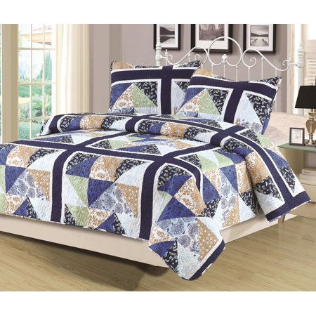 Queen Quilt Patchwork Blue Green Tan Multi Color Bedspread 3 Piece Set