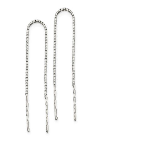- Solid 925 Sterling Silver Spiral Bar Threader Earrings (7mm x 78mm)