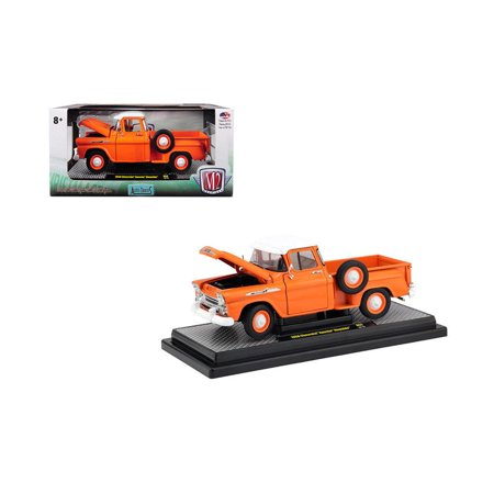M2 MACHINES 1:24 RELEASE 64A - 1958 CHEVROLET APACHE STEPSIDE (ORANGE WITH WHITE ROOF) (64a Apache Attack Helicopter)