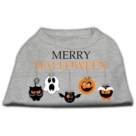 Merry Halloween Screen Print Dog Shirt Grey Lg (14) - Merry Halloween
