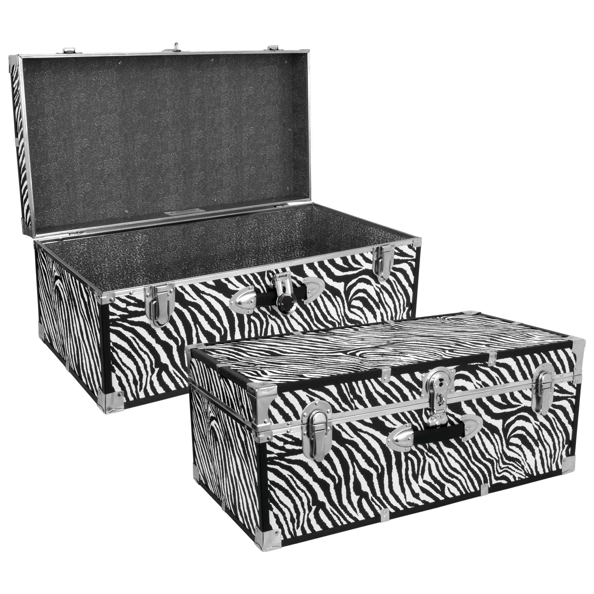 Seward Trunk 30-Inch Stackable Footlocker Trunk, Zebra