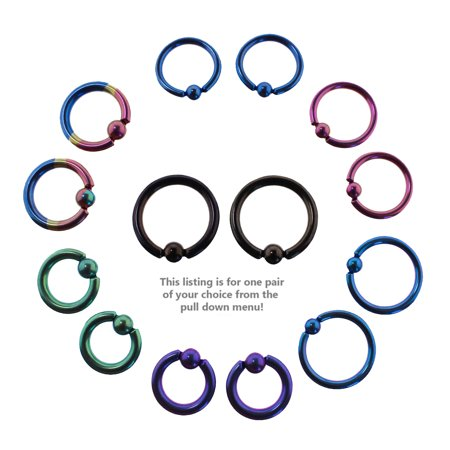 Lex & Lu Pair of Titanium Captive Bead Ring CBR Hoop Earrings 12-10 Gauge