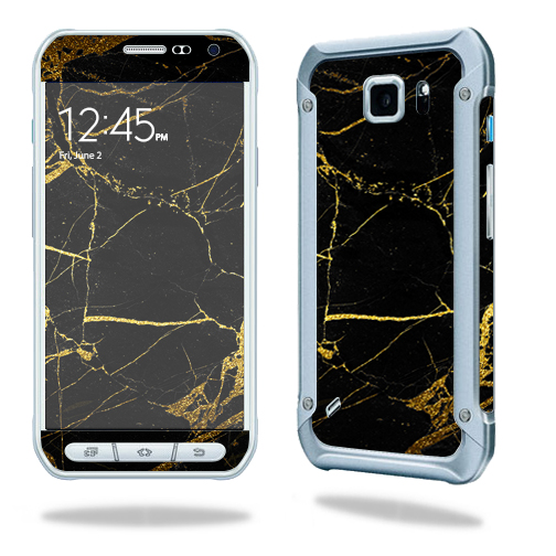 MightySkins Protective Vinyl Skin Decal for Samsung Galaxy S6 Active wrap cover sticker skins Black Gold Marble