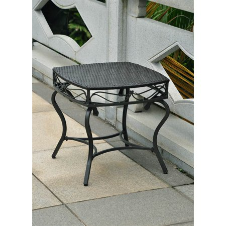 wicker resin steel patio side table in black antique finish. Black Bedroom Furniture Sets. Home Design Ideas