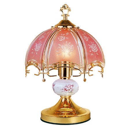 """14.25"""" Tall Metal Touch Table Lamp, Brushed Gold finish, Floral-Patterned Glass Shade"""