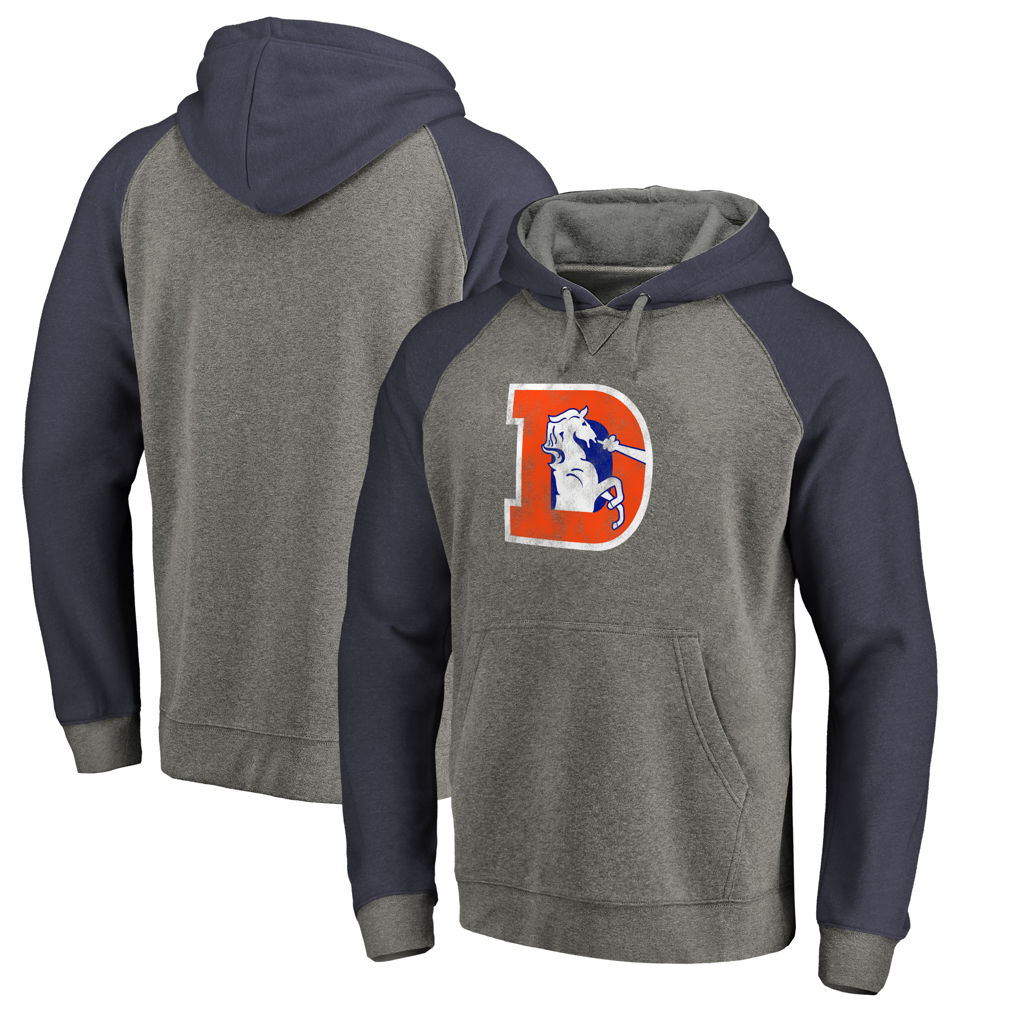 Denver Broncos NFL Pro Line by Fanatics Branded Throwback Logo Big & Tall Tri-Blend Raglan Pullover Hoodie - Gray/Navy