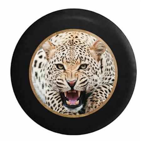 Leopard Cheetah Growling in the Jungle Big Cat Jeep RV Camper Spare Tire Cover Black 31 in