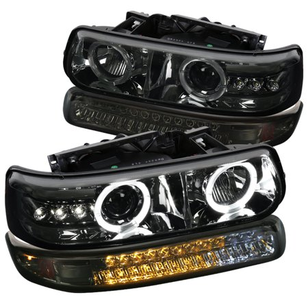 Spec-D Tuning For 1992-2002 Chevy Chevrolet Silverado Tahoe Suburban Smoke Led Projector Headlights + Smoke Led Bumper Lamp (Left+Right) 1999 2000 2001 2002 2000 Gmc Safari Headlight