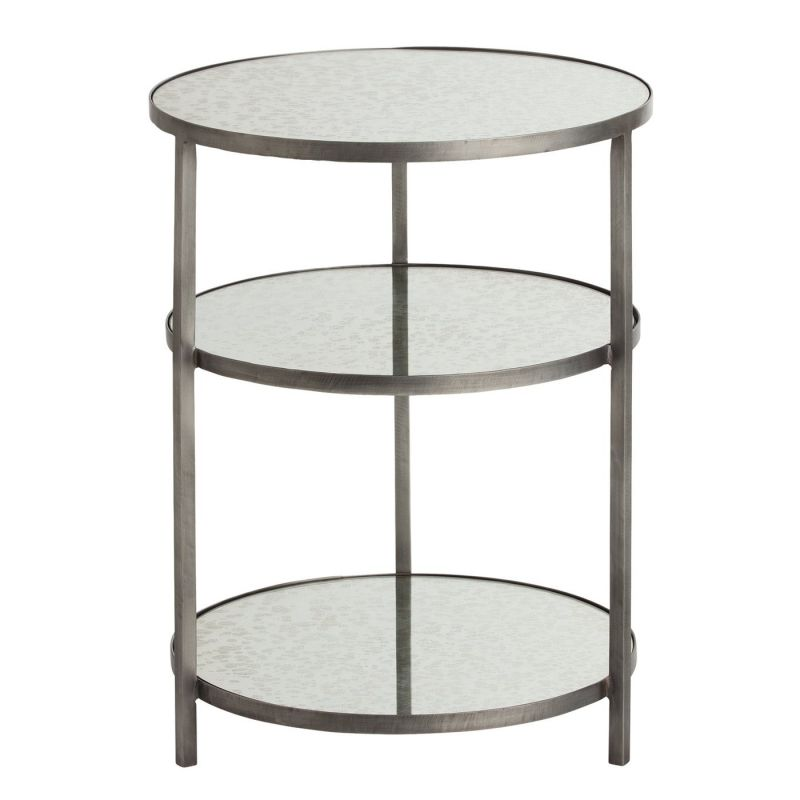 Arteriors 2028.2032 Percy 18.5 Inch Diameter Mirror Top Iron End Table by