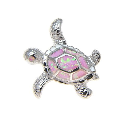 925 Sterling silver rhodium Hawaiian honu sea turtle pink opal slider pendant 20mm
