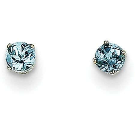 Aquamarine 14k White Gold Earrings - Aquamarine 14kt White Gold 3mm Stud Earrings