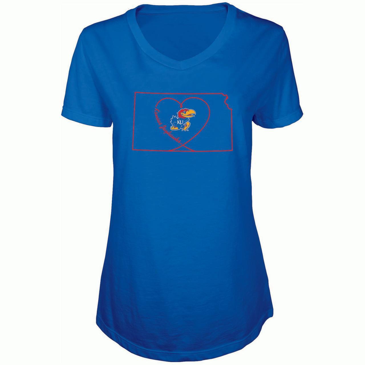 Women's Russell Royal Kansas Jayhawks State V-Neck T-Shirt