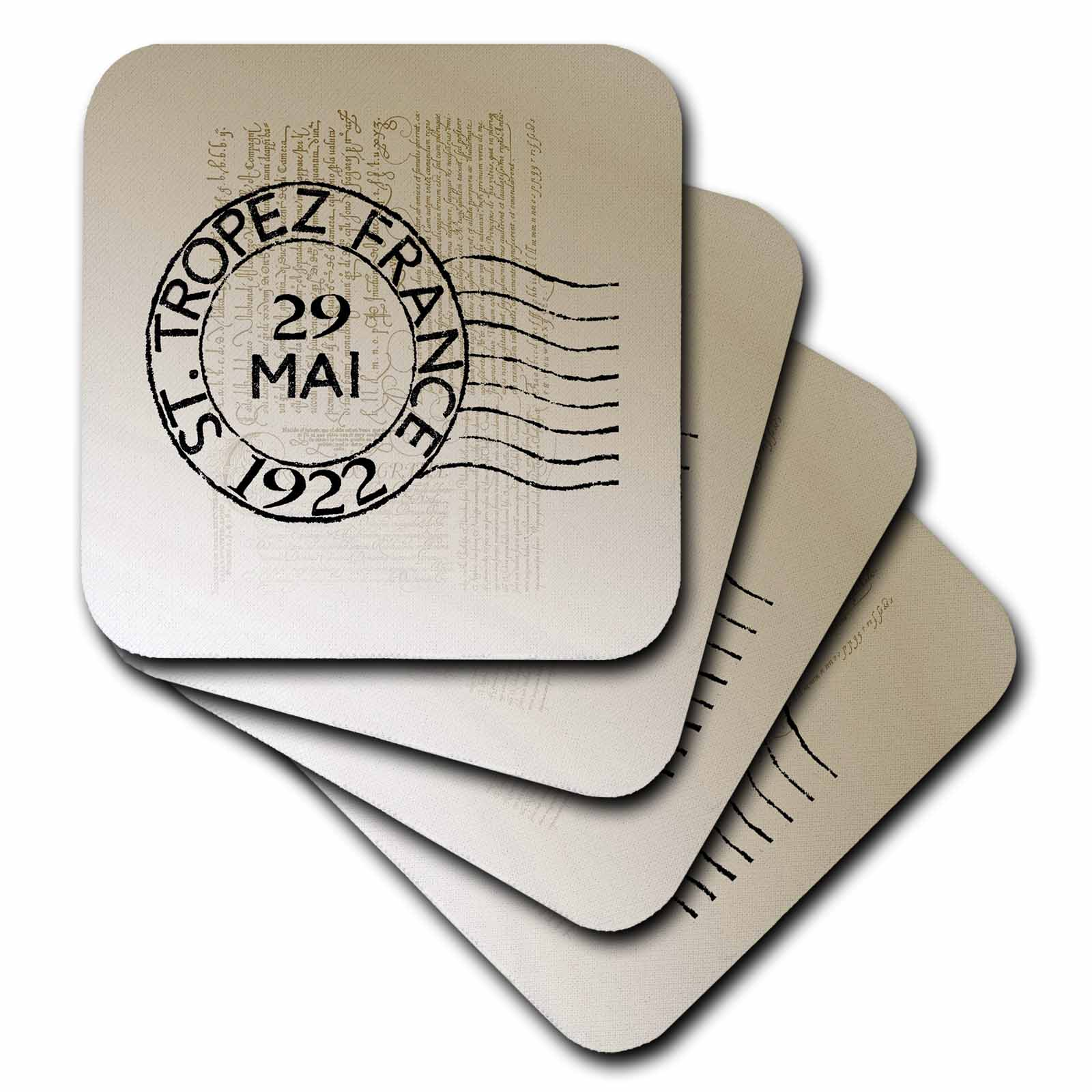 3dRose St. Tropez Vintage French Art Postage Stamp, Soft Coasters, set of 4 by 3dRose