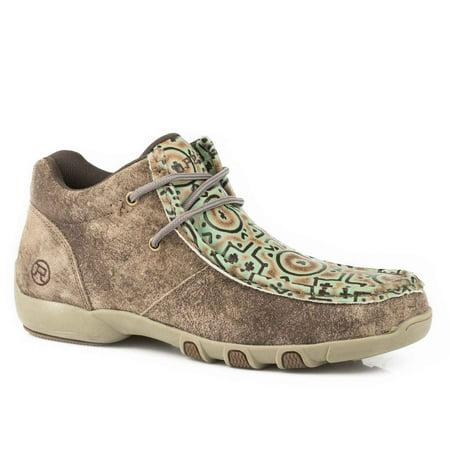 Distressed Tan Footwear (Roper 1780 Choco Tan Vintage Tumbled Leather Tan/Turq Embossed Tooled Vamp )
