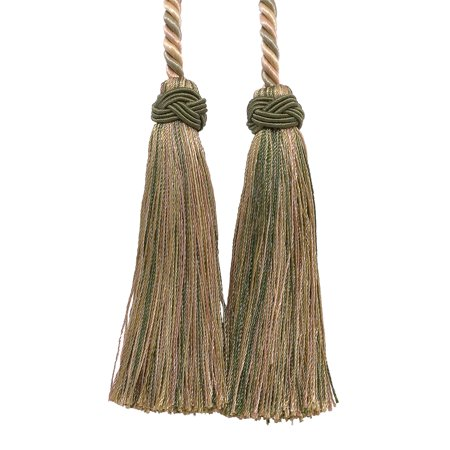 Double Tassel /  Olive Green, Champagne / Tassel Tie with 4 inch Tassels, 26