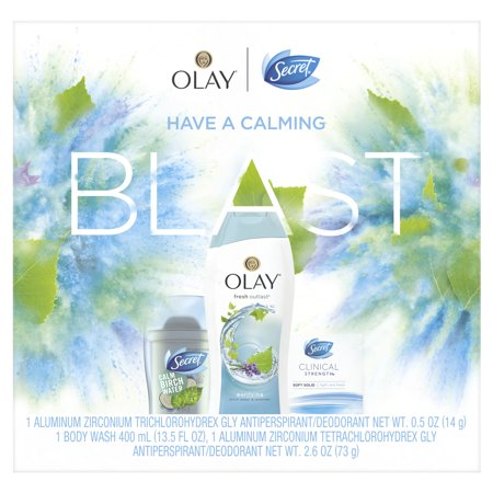 Secret Invisible Solid Calm Birch Water + Clinical Strength Smooth Solid Light & Fresh + Olay Fresh Outlast Body Wash Birch Water & Lavender, Gift Pack