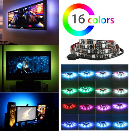 TSV Flux Color Bias Lighting USB RGB LED TV Backlight with Built-in Controller for Ambient Lighting - Background Lighting for Flat Screen HDTV, LCD, Desktop Monitors -