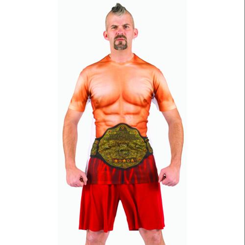 Faux Wrestler Muscle Costume T-Shirt Adult