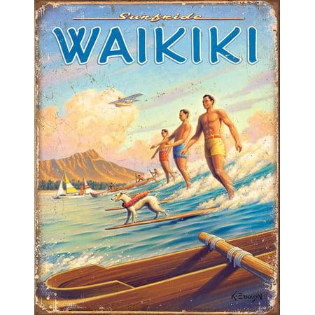 Hawaii - Surfside Tin Sign Tin Sign - 12.5x16