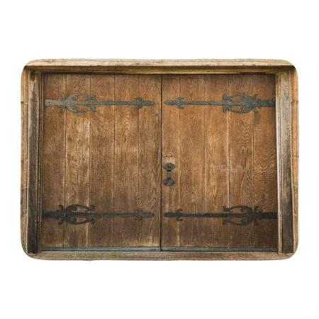 - KDAGR Brown Wood Antique Door Wooden Old Vintage Oak Ornate Doormat Floor Rug Bath Mat 23.6x15.7 inch