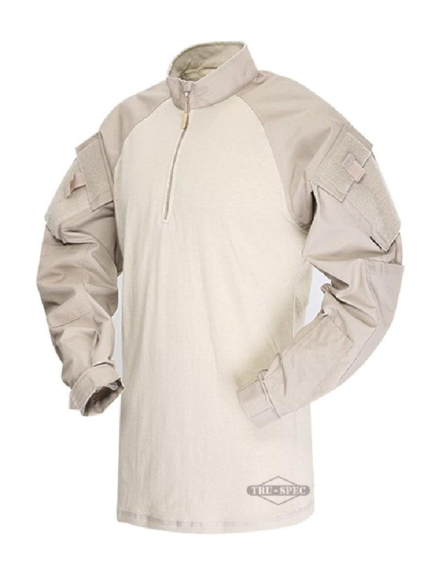Tru-Spec 2564 1/4 Zip Tactical Response Uniform (TRU) Combat Shirt, Khaki