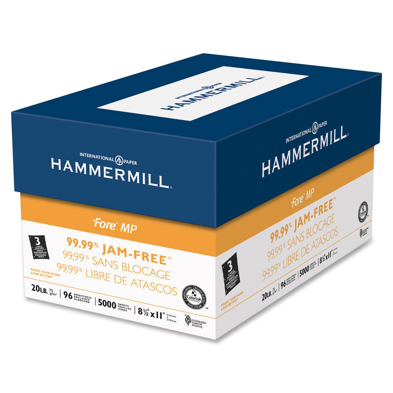 Hammermill Jam-Free 3-hole Punched Fore MP Paper -HAM103275